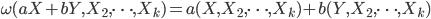 { \displaystyle \omega(aX + bY, X_2, \cdots, X_k) = a(X, X_2, \cdots, X_k) + b(Y, X_2, \cdots, X_k) }