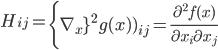 { \displaystyle H_{ij} = \left{\nabla_x}^{2} g(x))_{ij} = \frac{\partial^{2} f(x)}{\partial x_{i} \partial x_{j}} }