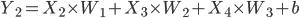 { \displaystyle Y_2 = X_2 \times W_1 + X_3 \times W_2 + X_4 \times W_3 + b }