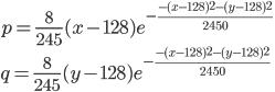 { \displaystyle p = \frac{8}{245} (x-128) e^{-\frac{-(x-128)^2-(y-128)^2}{2450}}\\ q = \frac{8}{245} (y-128) e^{-\frac{-(x-128)^2-(y-128)^2}{2450}} }