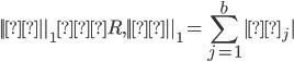 { \displaystyle  ||θ||_1≤R,  ||θ||_1=\sum_{j=1}^{b} |θ_j|}