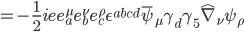 { \displaystyle = -\frac{1}{2} i e e^{\mu} _a e^{\nu} _b e^{\rho} _c \epsilon ^{abcd} \bar{\psi} _{\mu} \gamma _d \gamma _5 \hat{\nabla} _{\nu} \psi _{\rho} }