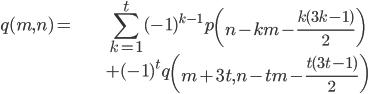 { \displaystyle \begin{align*} q(m, n) =& \sum_{k=1}^{t}(-1)^{k-1}p\left( n-km-\frac{k(3k-1)}{2} \right) \\ &+(-1)^{t}q\left( m+3t, n-tm-\frac{t(3t-1)}{2}\right) \end{align*} }