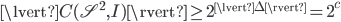 { \displaystyle \lvert C( \mathscr{S}^2, I ) \rvert \ge 2^{\lvert \Delta \rvert} = 2^{ \mathcal{c} } }