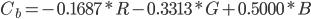 { \displaystyle C_b = - 0.1687 * R - 0.3313 * G + 0.5000 * B }
