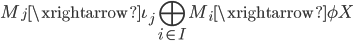 { \displaystyle M_{j}\xrightarrow{\iota_{j}}\bigoplus_{i\in I}M_{i}\xrightarrow{\phi}X }