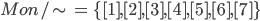 { \displaystyle Mon/\sim\, =\,\{[1], [2], [3], [4], [5], [6], [7]\} }