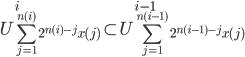 { \displaystyle U_{ \sum_{ j=1 } ^{ n(i) } 2^{ n(i)-j } x(j) } ^i  \subset U_{ \sum_{ j=1 } ^{ n(i-1) } 2^{ n(i-1)-j } x(j) } ^{ i-1 } }
