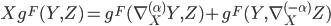 { \displaystyle Xg^F(Y,Z) = g^F(\nabla_X^{(\alpha)}Y,Z) + g^F(Y,\nabla_X^{(-\alpha)}Z)}