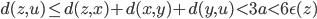 { \displaystyle d(z,u) \le d(z,x)+d(x,y)+d(y,u)<3a<6 \epsilon (z) }
