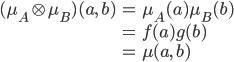 { \displaystyle\begin{align*}   (\mu_A \otimes \mu_B)(a,\,b)     &= \mu_A(a)\mu_B(b) \\     &= f(a)g(b) \\     &= \mu(a,\,b) \end{align*}}
