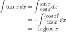 { \displaystyle\begin{align*}   \int \tan x \,dx     &= \int \frac{\sin x}{\cos x} dx \\     &= -\int \frac{(\cos x)'}{\cos x} dx \\     &= -\log|\cos x| \end{align*}}