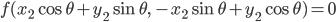 { \displaystyle\begin{align*}   f(x_2\cos\theta + y_2\sin\theta,\,-x_2\sin\theta + y_2\cos\theta) = 0 \end{align*}}
