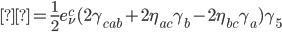 { \displaystyle= \frac{1}{2} e^c _{\nu} ( 2\gamma _{cab} + 2\eta _{ac} \gamma _b - 2\eta _{bc} \gamma_a) \gamma _5 }