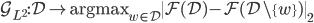 { \mathcal{G}_{L^2}: \mathcal{D} \mapsto \mbox{argmax}_{w \in \mathcal{D}} \| \mathcal{F}(\mathcal{D}) - \mathcal{F}(\mathcal{D} \backslash \{w\} ) \|_2 }