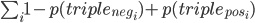 { \sum_i \displaystyle 1 - p(triple_{neg_i}) + p(triple_{pos_i})}