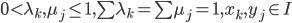 { 0\lt \lambda_{k}, \mu_{j}\le 1, \sum\lambda_{k}=\sum\mu_{j}=1, x_{k}, y_{j}\in I }
