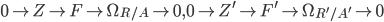 { 0\rightarrow Z\rightarrow F\rightarrow\Omega_{R/A}\rightarrow 0, 0\rightarrow Z^{\prime}\rightarrow F^{\prime}\rightarrow\Omega_{R^{\prime}/A^{\prime}}\rightarrow 0 }