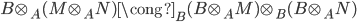 { B\otimes_{A}(M\otimes_{A}N)\cong_{B} (B\otimes_{A}M)\otimes_{B}(B\otimes_{A}N) }
