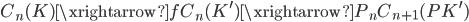 { C_{n}( K )\xrightarrow{f}C_{n}(K^{\prime})\xrightarrow{P_{n}}C_{n+1}(PK^{\prime}) }