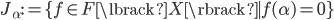 { J_{\alpha}:=\lbrace f\in F\lbrack X \rbrack \mid f(\alpha)=0 \rbrace }