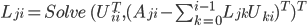 { L_{ji} = {\it Solve } ( U_{ii}^T, (A_{ji} - \sum_{k=0}^{i-1} L_{jk} U_{ki})^T )^T }