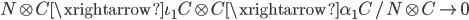 { N\otimes C\xrightarrow{\iota_{1}}C\otimes C\xrightarrow{\alpha_{1}}C/N\otimes C\rightarrow 0 }