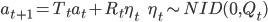 { a_{ t+1 } = T_t a_t + R_t \eta_t \ \ \ \ \ \ \eta_t \sim NID(0, Q_t) }