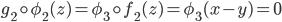 { g_{2}\circ\phi_{2}(z)=\phi_{3}\circ f_{2}(z)=\phi_{3}(x-y)=0 }