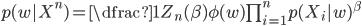 { p(w | X^n )= \dfrac{1}{Z_n(\beta)}\phi(w) \prod_{i=1}^n p(X_i |w)^\beta   }