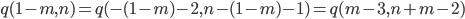 { q(1-m, n)=q(-(1-m)-2, n-(1-m)-1)=q(m-3, n+m-2) }