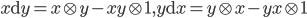 { x\mathrm{d}y=x\otimes y-xy\otimes 1, y\mathrm{d}x=y\otimes x-yx\otimes 1 }