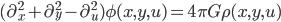 {(\partial_{x}^2+\partial_{y}^2-\partial_u^2)\phi(x,y,u)=4\pi G\rho(x,y,u)}