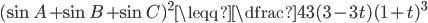 {(\sin A + \sin B + \sin C)^{2} \leqq \dfrac{4}{3}(3-3t)(1+t)^{3}}