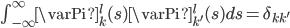 {\begin{align} \int_{-\infty}^\infty \varPi^l_k(s)\varPi^l_{k'}(s)ds=\delta_{kk'} \end{align}}