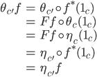 {\begin{align} \theta_{c'} f   &= \theta_{c'} \circ f^*(1_c) \\   &= Ff \circ \theta_c(1_c) \\   &= Ff \circ \eta_c(1_c) \\   &= \eta_{c'} \circ f^*(1_c) \\   &= \eta_{c'} f \end{align}}