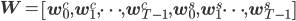 {\bf W} = \left[ {\bf w}_0^c, {\bf w}_1^c, \cdots, {\bf w}_{T - 1}^c,  {\bf w}_0^s, {\bf w}_1^s \cdots, {\bf w}_{T - 1}^s  \right]