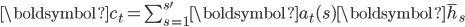 {\boldsymbol{c}_t = \sum_{s = 1}^{s'} \boldsymbol{a}_t(s) \boldsymbol{\bar{h}}_s}