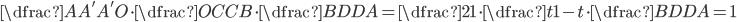 {\dfrac{AA'}{A'O}\cdot \dfrac{OC}{CB}\cdot \dfrac{BD}{DA}=\dfrac{2}{1}\cdot \dfrac{t}{1-t}\cdot \dfrac{BD}{DA}=1}