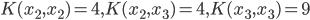 {\displaystyle K(x_2, x_2) = 4, K(x_2, x_3) = 4, K(x_3, x_3) = 9 }
