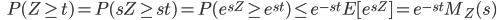 {\displaystyle \;\;\; P(Z \ge t) = P(sZ \ge st ) = P( e^{sZ} \ge e^{st} ) \le e^{-st} E [ e^{sZ} ] = e^{-st} M_Z (s) }