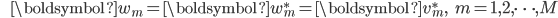 {\displaystyle \;\;\;\;\;\; \boldsymbol{w}_m = \boldsymbol{w}_m^* = \boldsymbol{v}_m^*, \;\;\; m=1,2,\cdots,M }