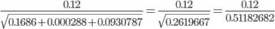 {\displaystyle \frac{0.12}{\sqrt{0.1686+0.000288+0.0930787}}=\frac{0.12}{\sqrt{0.2619667}}=\frac{0.12}{0.51182682}}