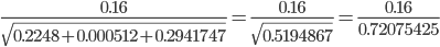 {\displaystyle \frac{0.16}{\sqrt{0.2248+0.000512+0.2941747}}=\frac{0.16}{\sqrt{0.5194867}}=\frac{0.16}{0.72075425}}