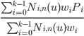 {\frac{\sum_{i=0}^{k-1} N_{i,n}(u)w_iP_i } {\sum_{i=0}^{k-1} N_{i,n}(u)w_i}}