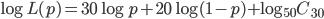 {\log L(p) = 30\log p+20\log (1-p)+\log {}_{50} C _{30}}