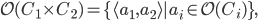 {\mathcal{O}(C_1 \times C_2) = \{\langle a_1, a_2 \rangle | a_i \in \mathcal{O}(C_i)\},}