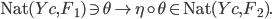 {\mathrm{Nat}(Yc, F_1) \ni \theta \mapsto \eta \circ \theta \in \mathrm{Nat}(Yc, F_2).}