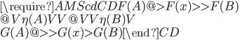 {\require{AMScd}\begin{CD} F(A) @>{F(x)}>> F(B) \\ @V{\eta(A)}VV @VV{\eta(B)}V \\ G(A) @>>{G(x)}> G(B) \end{CD}}