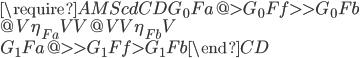 {\require{AMScd}\begin{CD} G_0 F a @>{G_0 F f}>> G_0 F b \\ @V{\eta_{Fa}}VV @VV{\eta_{Fb}}V \\ G_1 F a @>>{G_1 F f}> G_1 F b \end{CD}}